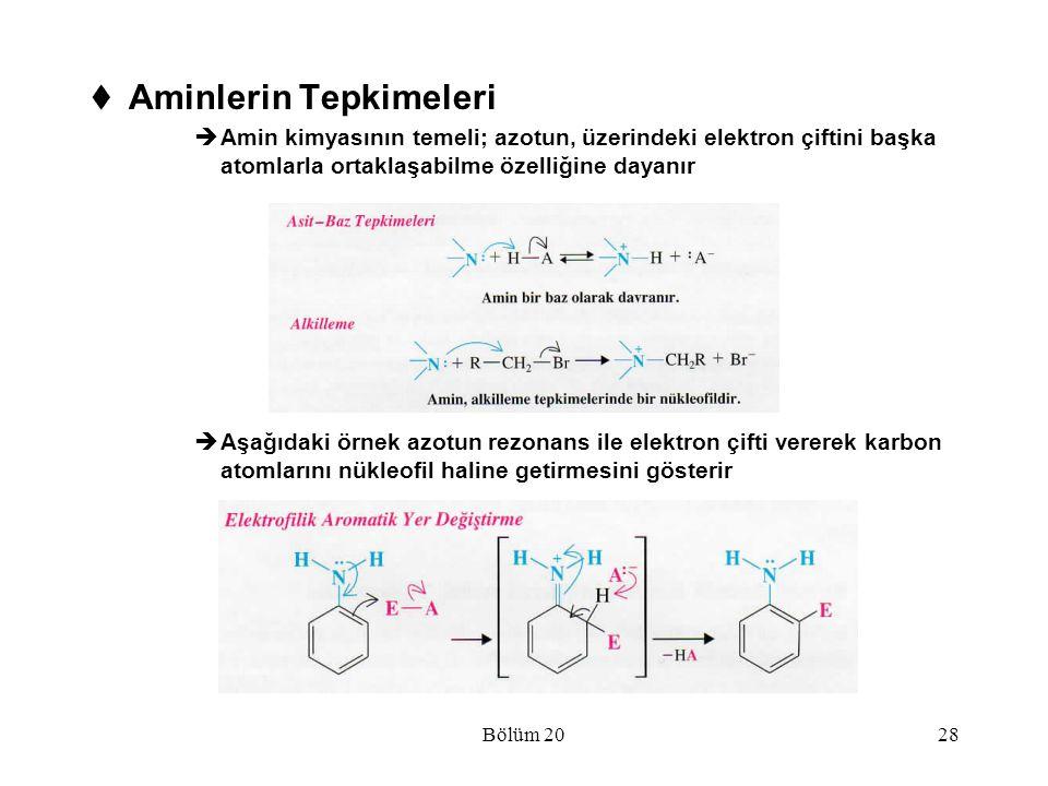 Bölüm 2028  Aminlerin Tepkimeleri  Amin kimyasının temeli; azotun, üzerindeki elektron çiftini başka atomlarla ortaklaşabilme özelliğine dayanır  A