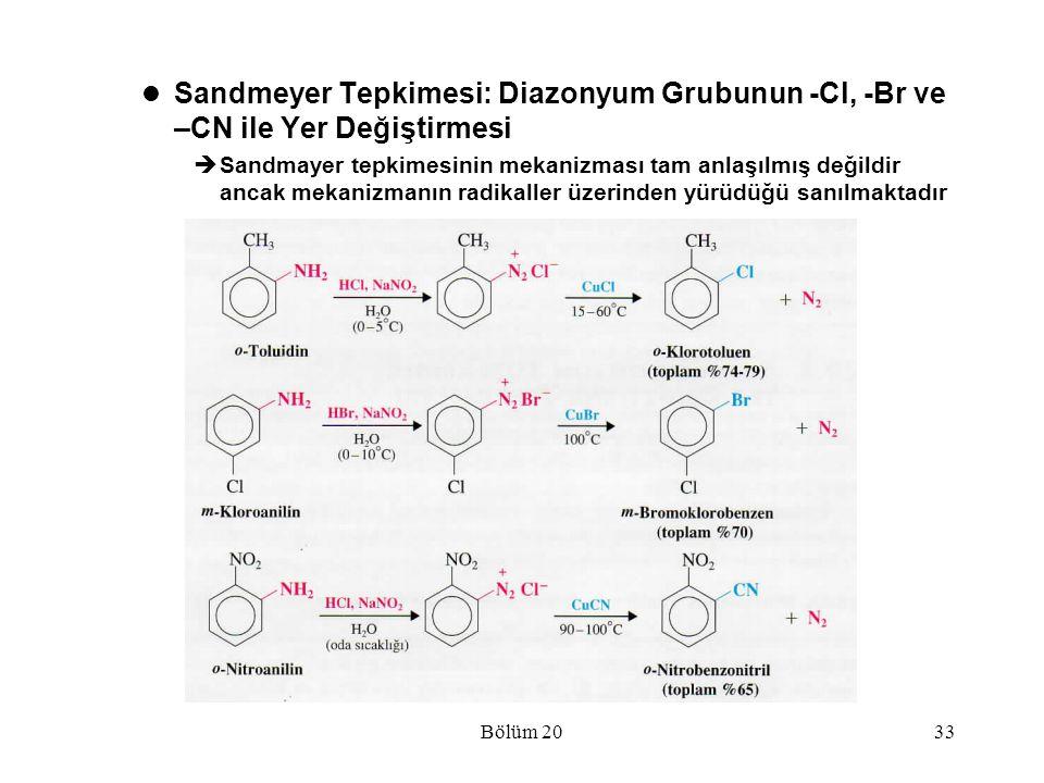Bölüm 2033 Sandmeyer Tepkimesi: Diazonyum Grubunun -Cl, -Br ve –CN ile Yer Değiştirmesi  Sandmayer tepkimesinin mekanizması tam anlaşılmış değildir a
