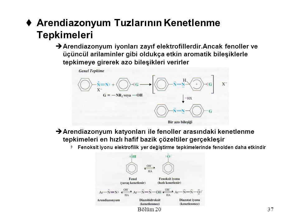 Bölüm 2037  Arendiazonyum Tuzlarının Kenetlenme Tepkimeleri  Arendiazonyum iyonları zayıf elektrofillerdir.Ancak fenoller ve üçüncül arilaminler gib
