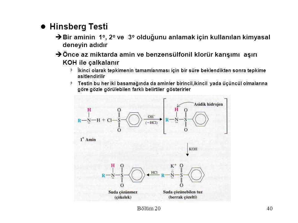 Bölüm 2040 Hinsberg Testi  Bir aminin 1 o, 2 o ve 3 o olduğunu anlamak için kullanılan kimyasal deneyin adıdır  Önce az miktarda amin ve benzensülfo