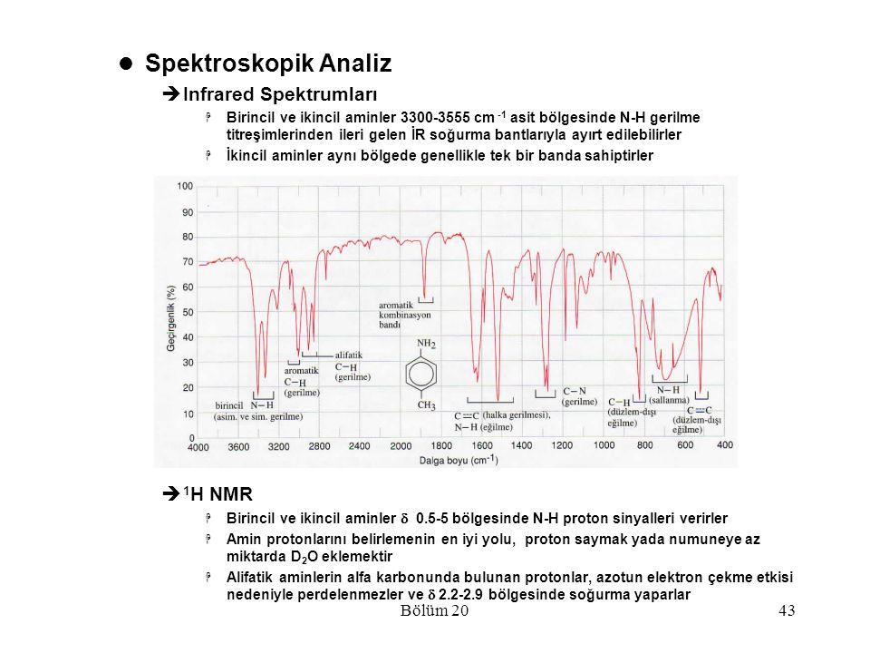 Bölüm 2043 Spektroskopik Analiz  Infrared Spektrumları  Birincil ve ikincil aminler 3300-3555 cm -1 asit bölgesinde N-H gerilme titreşimlerinden ile