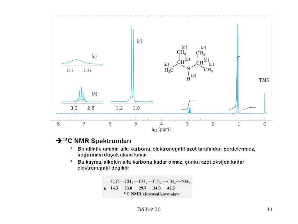 Bölüm 2044  13 C NMR Spektrumları  Bir alifatik aminin alfa karbonu, elektronegatif azot tarafından perdelenmez, soğurması düşük alana kayar  Bu ka