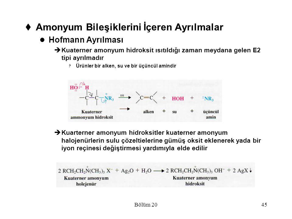 Bölüm 2045  Amonyum Bileşiklerini İçeren Ayrılmalar Hofmann Ayrılması  Kuaterner amonyum hidroksit ısıtıldığı zaman meydana gelen E2 tipi ayrılmadır