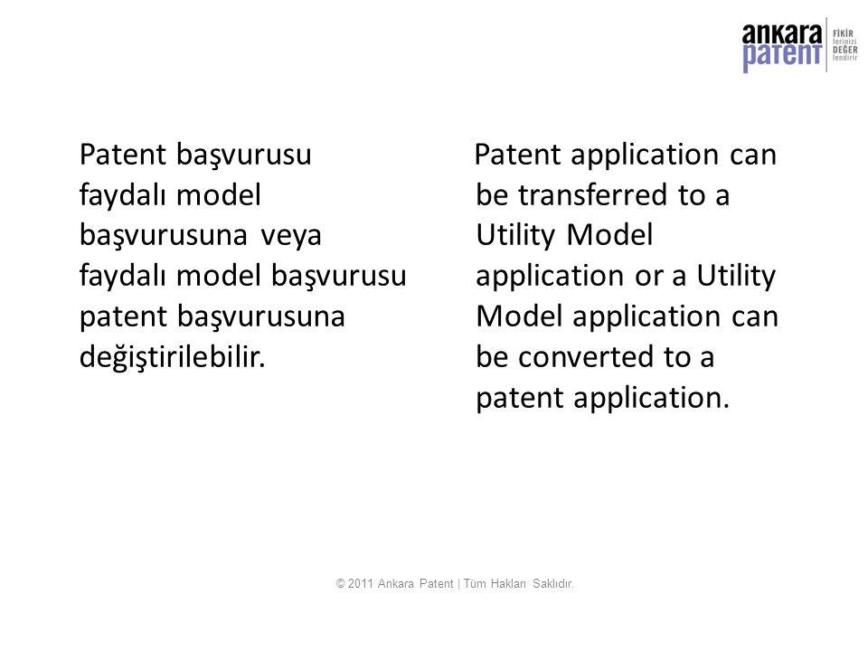 Patent başvurusu faydalı model başvurusuna veya faydalı model başvurusu patent başvurusuna değiştirilebilir. Patent application can be transferred to