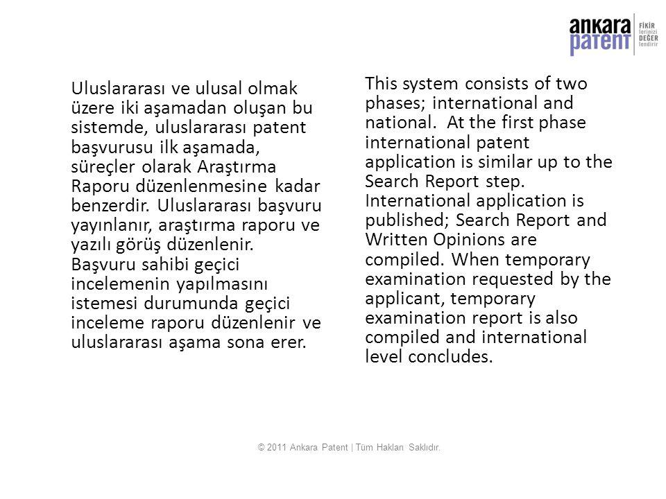 Uluslararası ve ulusal olmak üzere iki aşamadan oluşan bu sistemde, uluslararası patent başvurusu ilk aşamada, süreçler olarak Araştırma Raporu düzenl