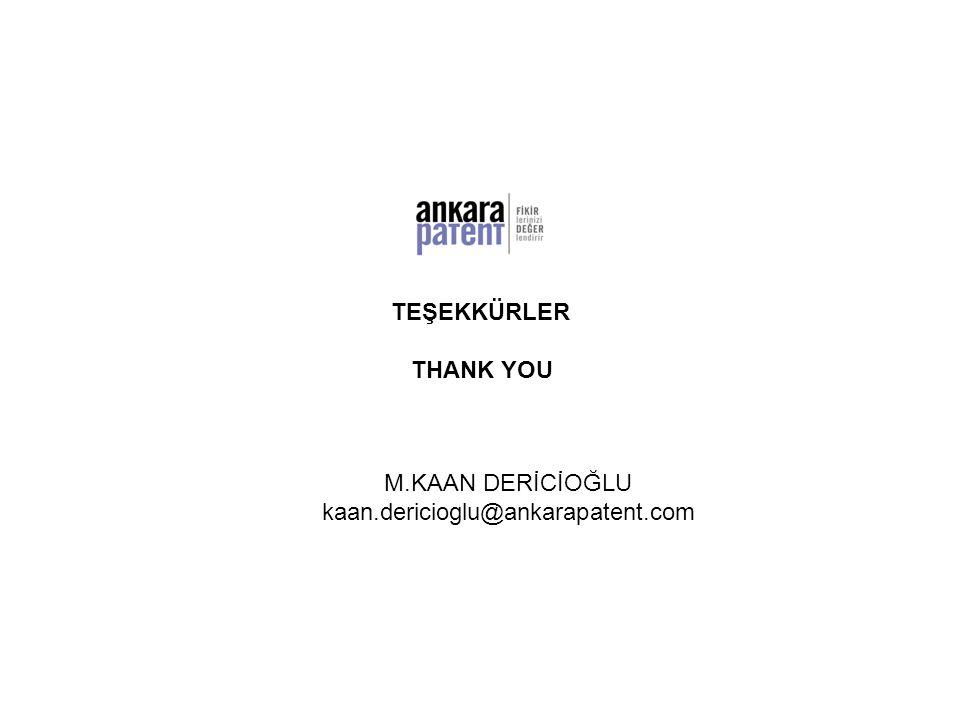TEŞEKKÜRLER THANK YOU M.KAAN DERİCİOĞLU kaan.dericioglu@ankarapatent.com