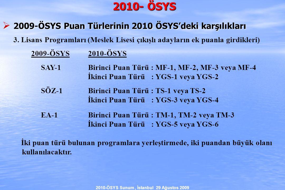 2010-ÖSYS Sunum, İstanbul 29 Ağustos 2009 2010- ÖSYS  2009-ÖSYS Puan Türlerinin 2010 ÖSYS'deki karşılıkları 3.