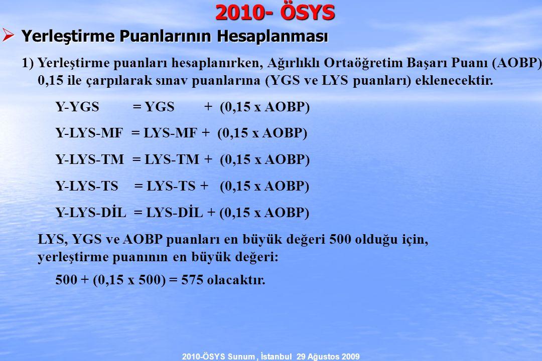 2010-ÖSYS Sunum, İstanbul 29 Ağustos 2009 2010- ÖSYS  Yerleştirme Puanlarının Hesaplanması 1) Yerleştirme puanları hesaplanırken, Ağırlıklı Ortaöğretim Başarı Puanı (AOBP) 0,15 ile çarpılarak sınav puanlarına (YGS ve LYS puanları) eklenecektir.