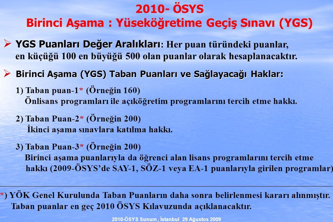 2010-ÖSYS Sunum, İstanbul 29 Ağustos 2009 2010- ÖSYS Birinci Aşama : Yüseköğretime Geçiş Sınavı (YGS)  YGS Puanları Değer Aralıkları  YGS Puanları Değer Aralıkları : Her puan türündeki puanlar, en küçüğü 100 en büyüğü 500 olan puanlar olarak hesaplanacaktır.