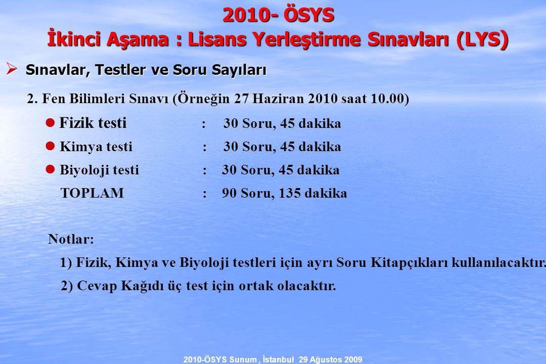 2010-ÖSYS Sunum, İstanbul 29 Ağustos 2009 2010- ÖSYS İkinci Aşama : Lisans Yerleştirme Sınavları (LYS )  Sınavlar, Testler ve Soru Sayıları 2.