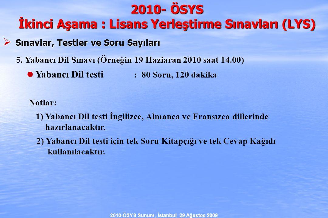 2010-ÖSYS Sunum, İstanbul 29 Ağustos 2009 2010- ÖSYS İkinci Aşama : Lisans Yerleştirme Sınavları (LYS)  Sınavlar, Testler ve Soru Sayıları 5.