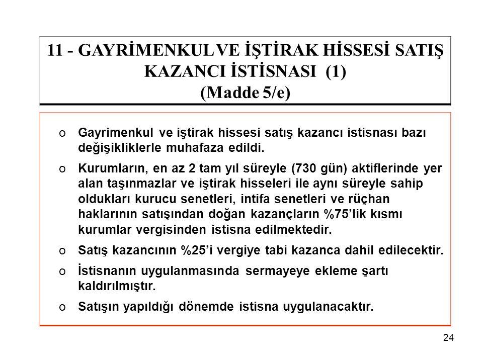24 11 - GAYRİMENKUL VE İŞTİRAK HİSSESİ SATIŞ KAZANCI İSTİSNASI (1) (Madde 5/e) oGayrimenkul ve iştirak hissesi satış kazancı istisnası bazı değişiklik