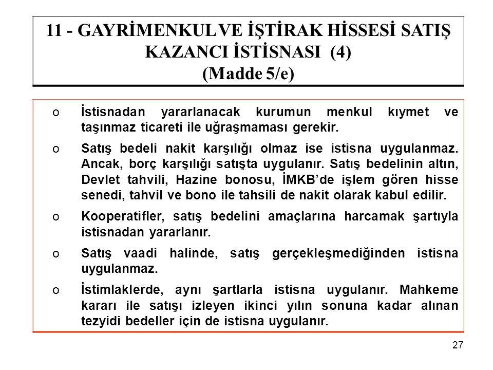 27 11 - GAYRİMENKUL VE İŞTİRAK HİSSESİ SATIŞ KAZANCI İSTİSNASI (4) (Madde 5/e) oİstisnadan yararlanacak kurumun menkul kıymet ve taşınmaz ticareti ile