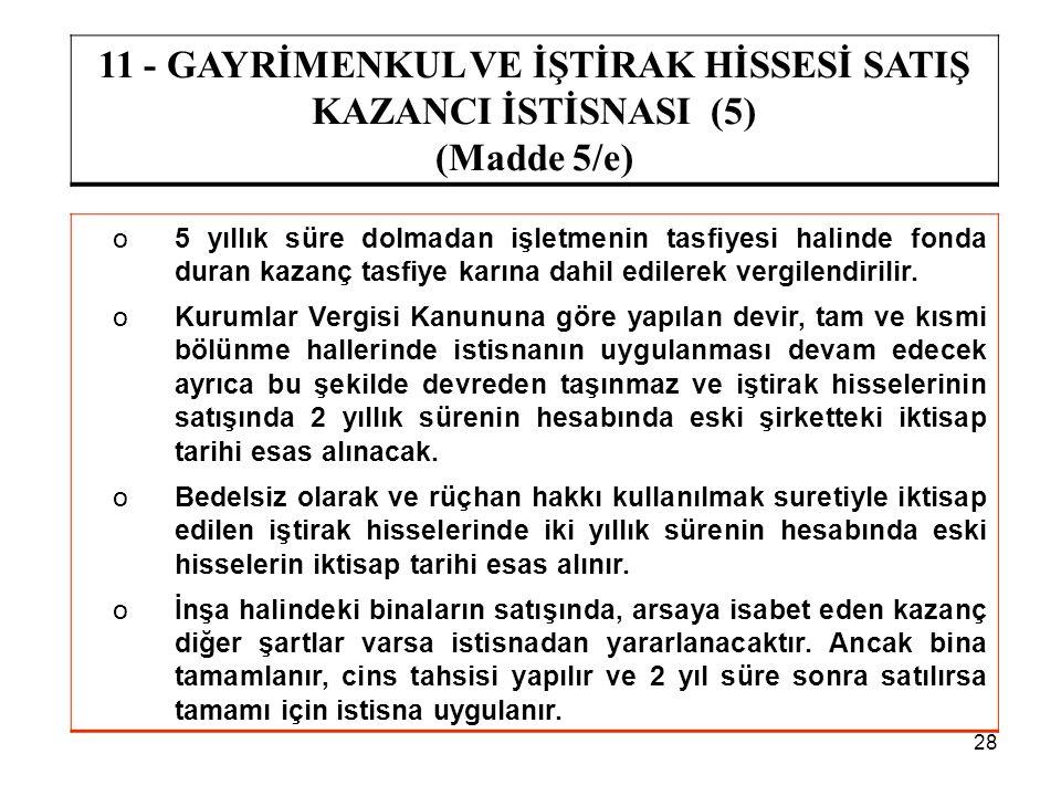 28 11 - GAYRİMENKUL VE İŞTİRAK HİSSESİ SATIŞ KAZANCI İSTİSNASI (5) (Madde 5/e) o5 yıllık süre dolmadan işletmenin tasfiyesi halinde fonda duran kazanç