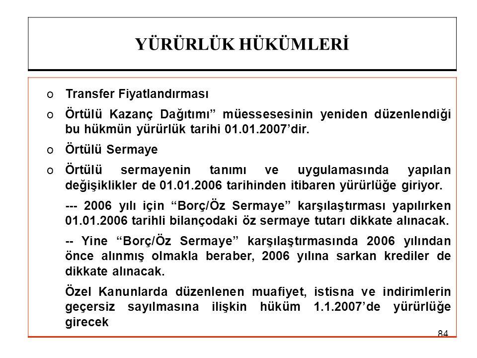 """84 YÜRÜRLÜK HÜKÜMLERİ oTransfer Fiyatlandırması oÖrtülü Kazanç Dağıtımı"""" müessesesinin yeniden düzenlendiği bu hükmün yürürlük tarihi 01.01.2007'dir."""