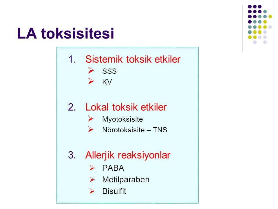 LA toksisitesi 1.Sistemik toksik etkiler  SSS  KV 2.Lokal toksik etkiler  Myotoksisite  Nörotoksisite – TNS 3.Allerjik reaksiyonlar  PABA  Metil