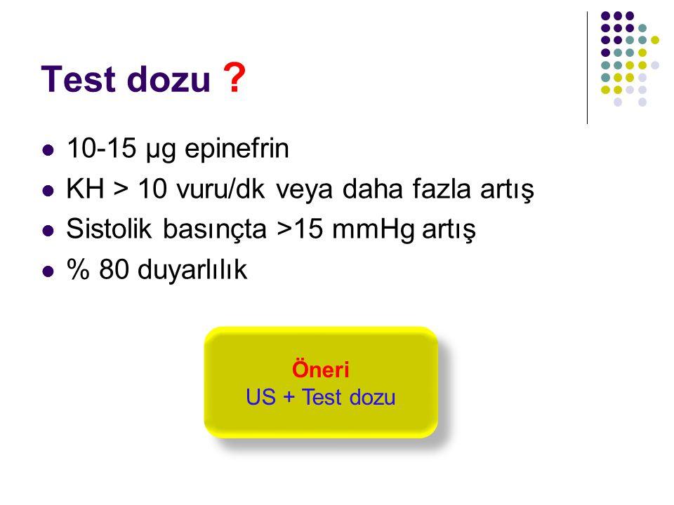 Test dozu ? 10-15 µg epinefrin KH > 10 vuru/dk veya daha fazla artış Sistolik basınçta >15 mmHg artış % 80 duyarlılık Öneri US + Test dozu Öneri US +