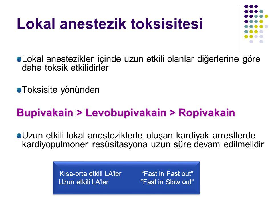 Lokal anestezik toksisitesi Lokal anestezikler içinde uzun etkili olanlar diğerlerine göre daha toksik etkilidirler Toksisite yönünden Bupivakain > Le