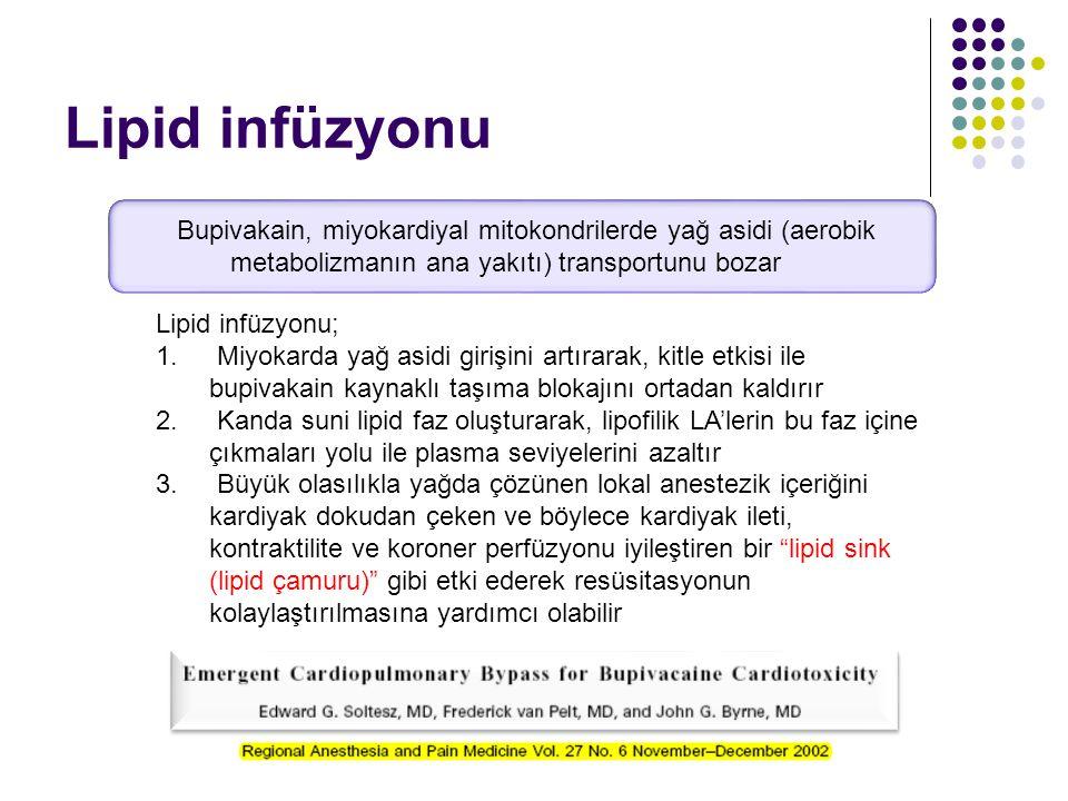 Lipid infüzyonu; 1. Miyokarda yağ asidi girişini artırarak, kitle etkisi ile bupivakain kaynaklı taşıma blokajını ortadan kaldırır 2. Kanda suni lipid