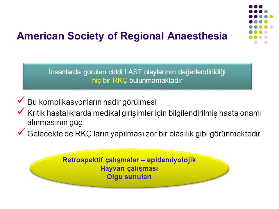 American Society of Regional Anaesthesia Bu komplikasyonların nadir görülmesi Kritik hastalıklarda medikal girişimler için bilgilendirilmiş hasta onam