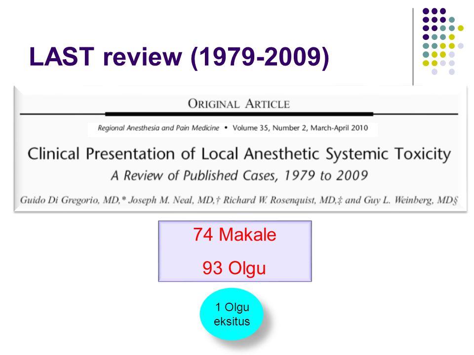 74 Makale 93 Olgu 1 Olgu eksitus 1 Olgu eksitus LAST review (1979-2009)