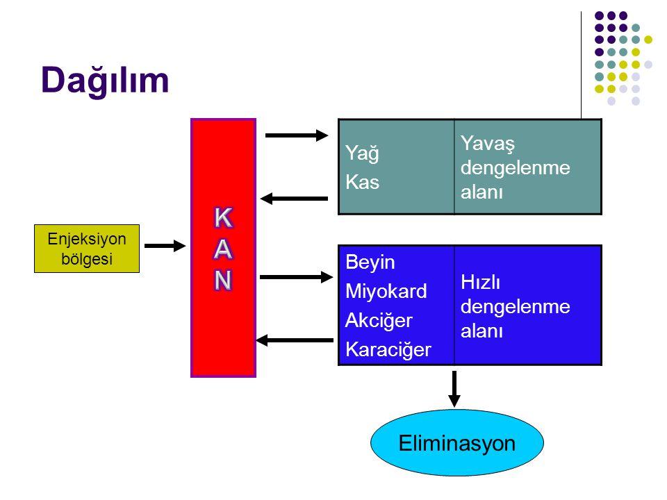 Enjeksiyon bölgesi Yağ Kas Yavaş dengelenme alanı Beyin Miyokard Akciğer Karaciğer Hızlı dengelenme alanı Eliminasyon Dağılım