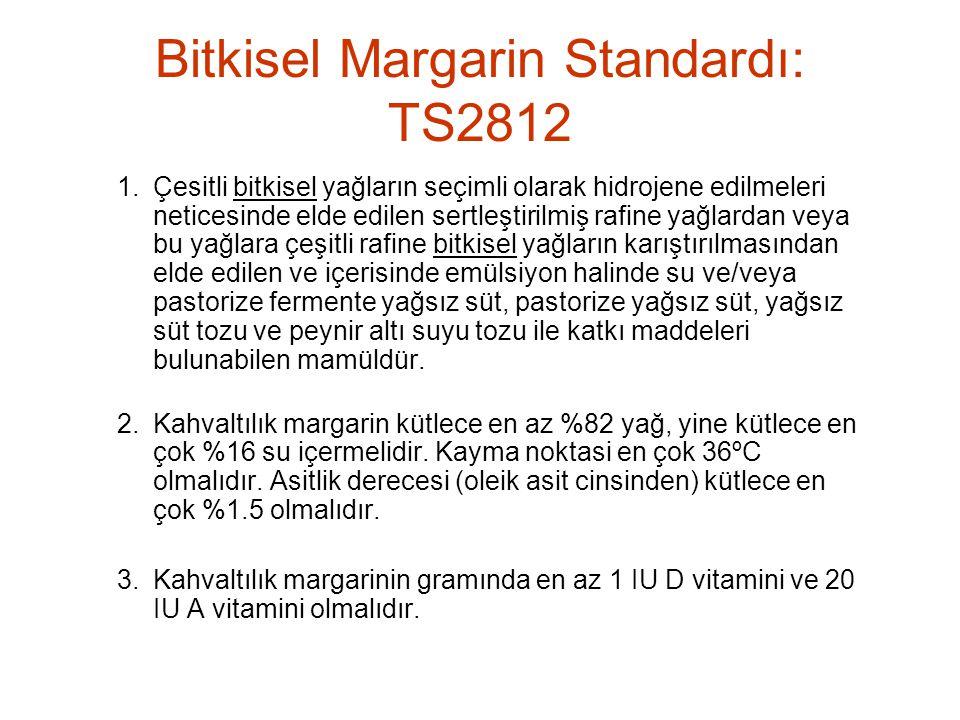 Bitkisel Margarin Standardı: TS2812 1.Çesitli bitkisel yağların seçimli olarak hidrojene edilmeleri neticesinde elde edilen sertleştirilmiş rafine yağlardan veya bu yağlara çeşitli rafine bitkisel yağların karıştırılmasından elde edilen ve içerisinde emülsiyon halinde su ve/veya pastorize fermente yağsız süt, pastorize yağsız süt, yağsız süt tozu ve peynir altı suyu tozu ile katkı maddeleri bulunabilen mamüldür.