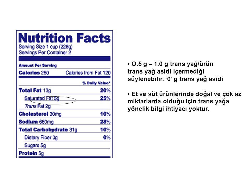 O.5 g – 1.0 g trans yağ/ürün trans yağ asidi içermediği süylenebilir.