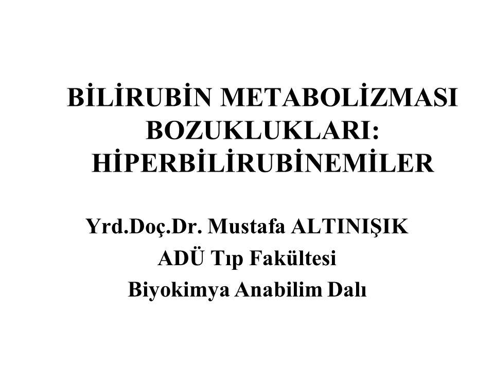 BİLİRUBİN METABOLİZMASI BOZUKLUKLARI: HİPERBİLİRUBİNEMİLER Yrd.Doç.Dr. Mustafa ALTINIŞIK ADÜ Tıp Fakültesi Biyokimya Anabilim Dalı
