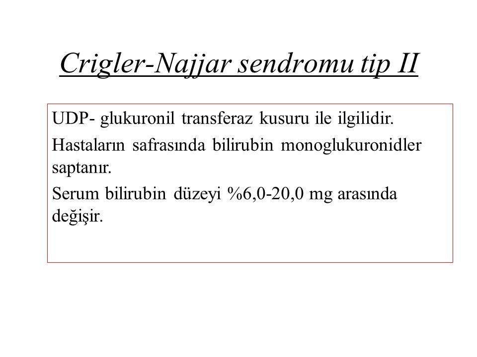 Crigler-Najjar sendromu tip II UDP- glukuronil transferaz kusuru ile ilgilidir. Hastaların safrasında bilirubin monoglukuronidler saptanır. Serum bili