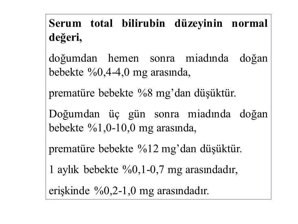 Serum total bilirubin düzeyinin normal değeri, doğumdan hemen sonra miadında doğan bebekte %0,4-4,0 mg arasında, prematüre bebekte %8 mg'dan düşüktür.