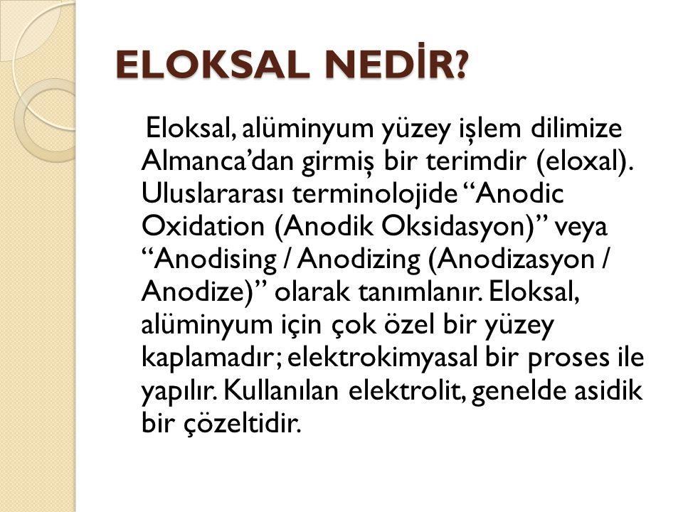 ELOKSAL NED İ R.Eloksal, alüminyum yüzey işlem dilimize Almanca'dan girmiş bir terimdir (eloxal).