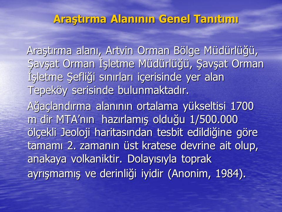 Araştırma Alanının Genel Tanıtımı Araştırma Alanının Genel Tanıtımı Araştırma alanı, Artvin Orman Bölge Müdürlüğü, Şavşat Orman İşletme Müdürlüğü, Şavşat Orman İşletme Şefliği sınırları içerisinde yer alan Tepeköy serisinde bulunmaktadır.