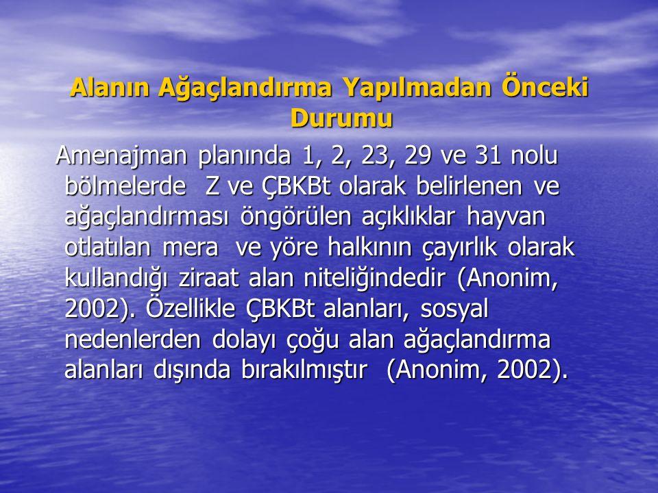 Alanın Ağaçlandırma Yapılmadan Önceki Durumu Amenajman planında 1, 2, 23, 29 ve 31 nolu bölmelerde Z ve ÇBKBt olarak belirlenen ve ağaçlandırması öngörülen açıklıklar hayvan otlatılan mera ve yöre halkının çayırlık olarak kullandığı ziraat alan niteliğindedir (Anonim, 2002).