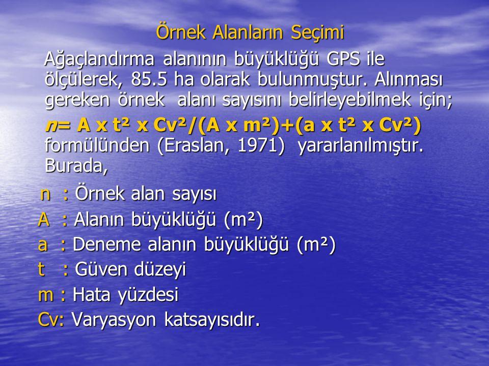 Örnek Alanların Seçimi Ağaçlandırma alanının büyüklüğü GPS ile ölçülerek, 85.5 ha olarak bulunmuştur.