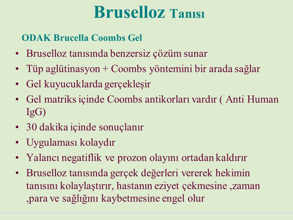 Bruselloz Tanısı ODAK Brucella Coombs Gel Bruselloz tanısında benzersiz çözüm sunar Tüp aglütinasyon + Coombs yöntemini bir arada sağlar Gel kuyucuklarda gerçekleşir Gel matriks içinde Coombs antikorları vardır ( Anti Human IgG) 30 dakika içinde sonuçlanır Uygulaması kolaydır Yalancı negatiflik ve prozon olayını ortadan kaldırır Bruselloz tanısında gerçek değerleri vererek hekimin tanısını kolaylaştırır, hastanın eziyet çekmesine,zaman,para ve sağlığını kaybetmesine engel olur
