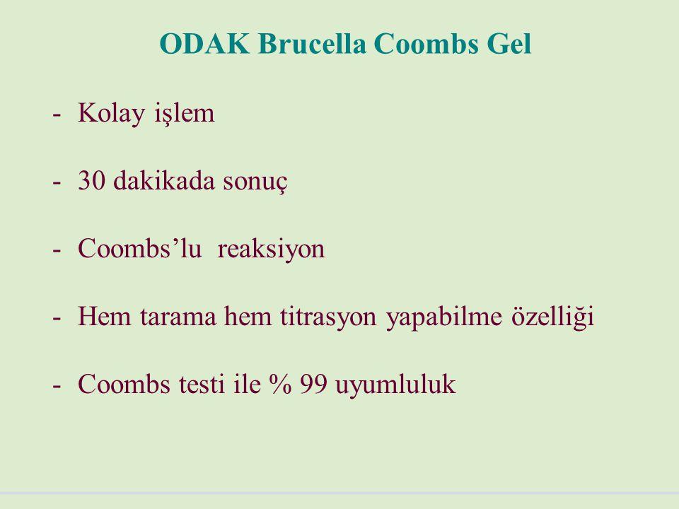 ODAK Brucella Coombs Gel -Kolay işlem -30 dakikada sonuç -Coombs'lu reaksiyon -Hem tarama hem titrasyon yapabilme özelliği -Coombs testi ile % 99 uyumluluk