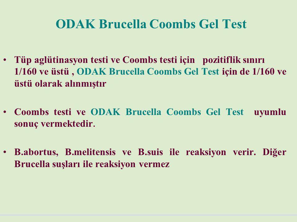 ODAK Brucella Coombs Gel Test Tüp aglütinasyon testi ve Coombs testi için pozitiflik sınırı 1/160 ve üstü, ODAK Brucella Coombs Gel Test için de 1/160 ve üstü olarak alınmıştır Coombs testi ve ODAK Brucella Coombs Gel Test uyumlu sonuç vermektedir.