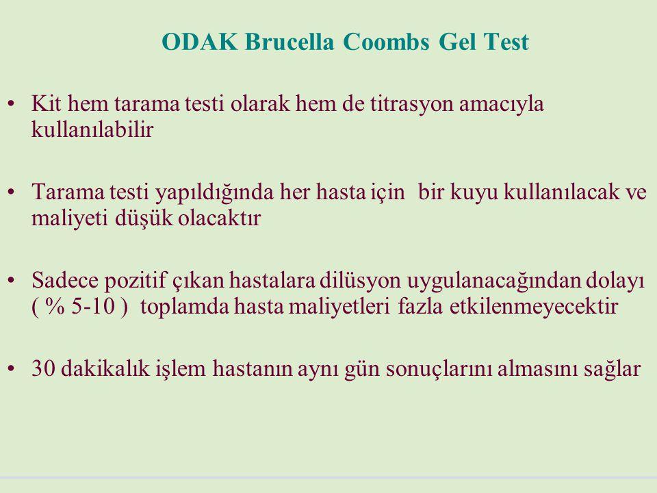 ODAK Brucella Coombs Gel Test Kit hem tarama testi olarak hem de titrasyon amacıyla kullanılabilir Tarama testi yapıldığında her hasta için bir kuyu kullanılacak ve maliyeti düşük olacaktır Sadece pozitif çıkan hastalara dilüsyon uygulanacağından dolayı ( % 5-10 ) toplamda hasta maliyetleri fazla etkilenmeyecektir 30 dakikalık işlem hastanın aynı gün sonuçlarını almasını sağlar
