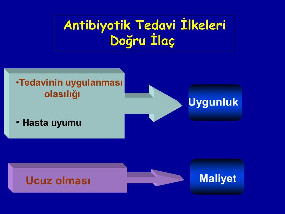 Uygunluk Maliyet Tedavinin uygulanması olasılığı Hasta uyumu Ucuz olması Antibiyotik Tedavi İlkeleri Doğru İlaç