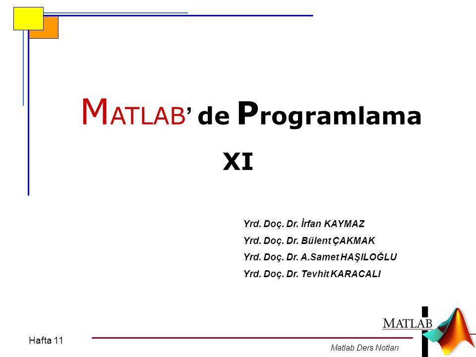 Hafta 11 Matlab Ders Notları MATLAB'de GRAFİK İŞLEMLERİ MATLAB diğer programlama dillerine nazaran oldukça güçlü bir grafik araçkutusuna (toolbox)'a sahip olmasıdır.