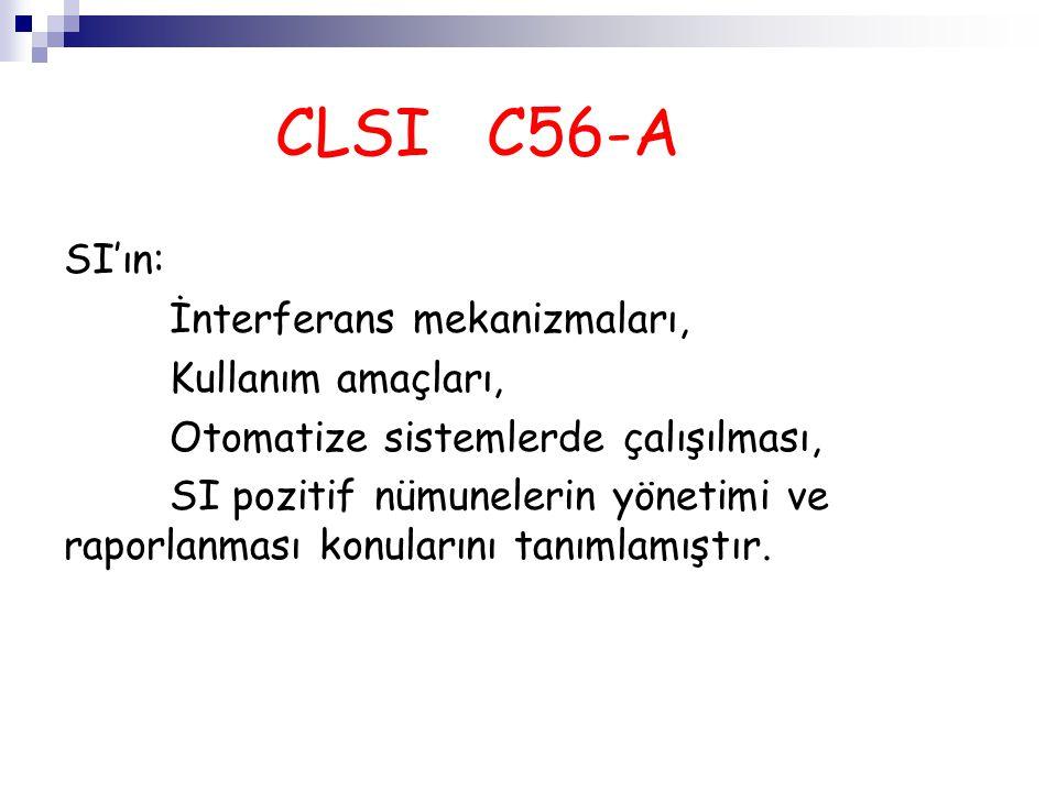 CLSI C56-A SI'ın: İnterferans mekanizmaları, Kullanım amaçları, Otomatize sistemlerde çalışılması, SI pozitif nümunelerin yönetimi ve raporlanması kon