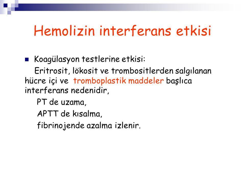 Hemolizin interferans etkisi Koagülasyon testlerine etkisi: Eritrosit, lökosit ve trombositlerden salgılanan hücre içi ve tromboplastik maddeler başlı