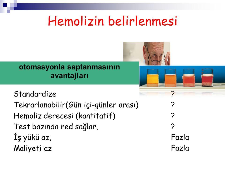 Hemolizin belirlenmesi Standardize Tekrarlanabilir(Gün içi-günler arası) Hemoliz derecesi (kantitatif) Test bazında red sağlar, İş yükü az, Maliyeti a