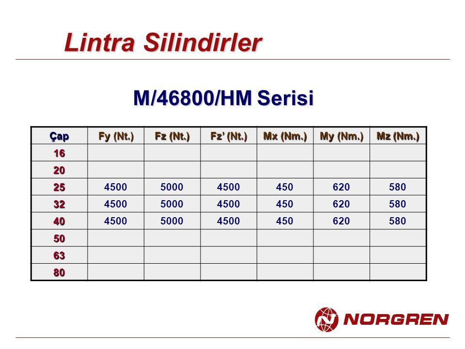 Lintra Silindirler M/46800/HM Serisi Çap Fy (Nt.) Fz (Nt.) Fz' (Nt.) Mx (Nm.) My (Nm.) Mz (Nm.) 16 20 25450050004500450620580 32450050004500450620580 40450050004500450620580 50 63 80