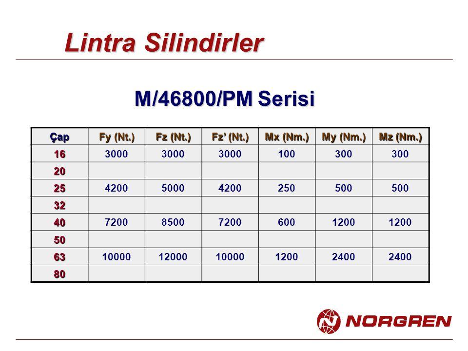 Lintra Silindirler M/46800/PM Serisi Çap Fy (Nt.) Fz (Nt.) Fz' (Nt.) Mx (Nm.) My (Nm.) Mz (Nm.) 163000 100300 20 25420050004200250500 32 407200850072006001200 50 6310000120001000012002400 80