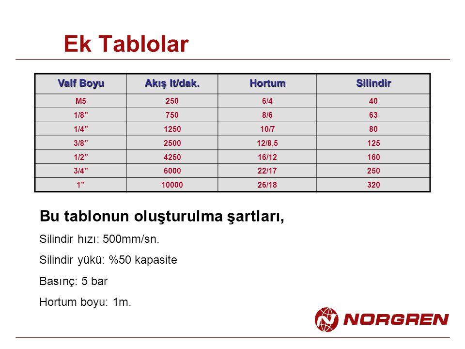 Ek Tablolar Valf Boyu Akış lt/dak.