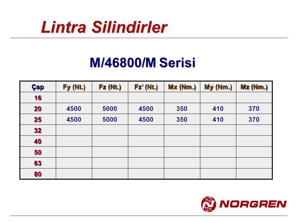 Lintra Silindirler M/46800/M Serisi Çap Fy (Nt.) Fz (Nt.) Fz' (Nt.) Mx (Nm.) My (Nm.) Mz (Nm.) 16 20450050004500350410370 25450050004500350410370 32 40 50 63 80