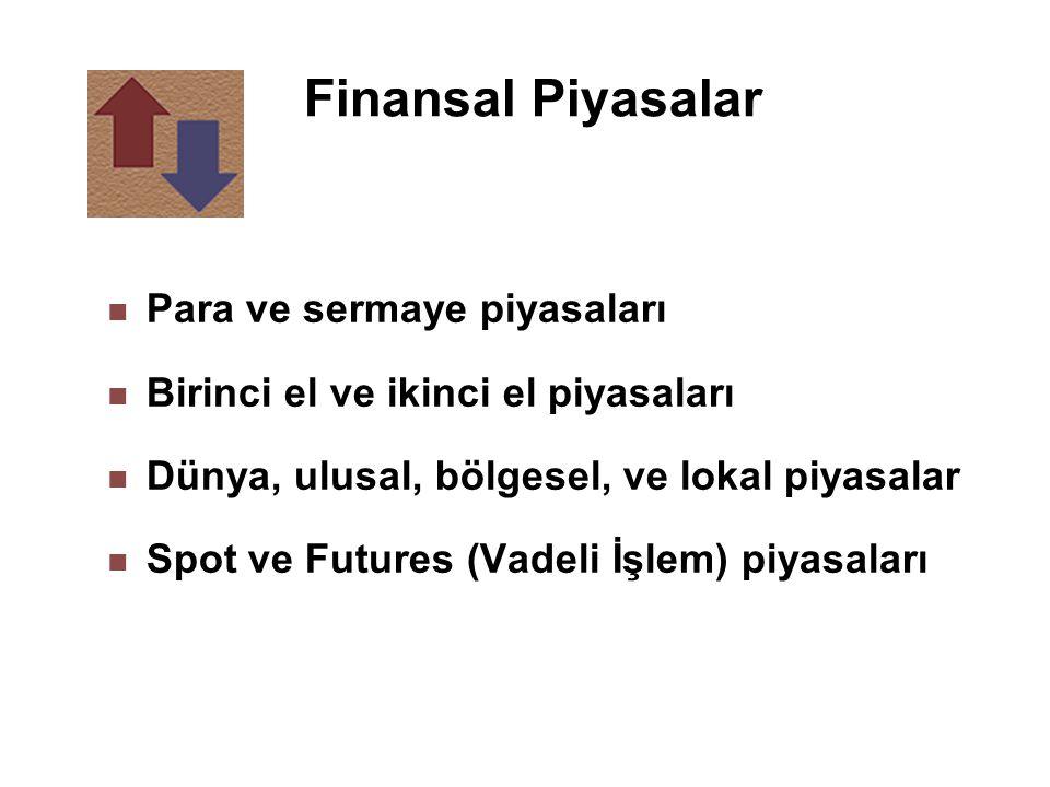 Finansal Piyasalar n Para ve sermaye piyasaları n Birinci el ve ikinci el piyasaları n Dünya, ulusal, bölgesel, ve lokal piyasalar n Spot ve Futures (