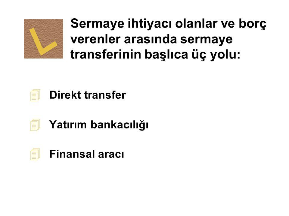 Sermaye ihtiyacı olanlar ve borç verenler arasında sermaye transferinin başlıca üç yolu: 4 Direkt transfer 4 Yatırım bankacılığı 4 Finansal aracı